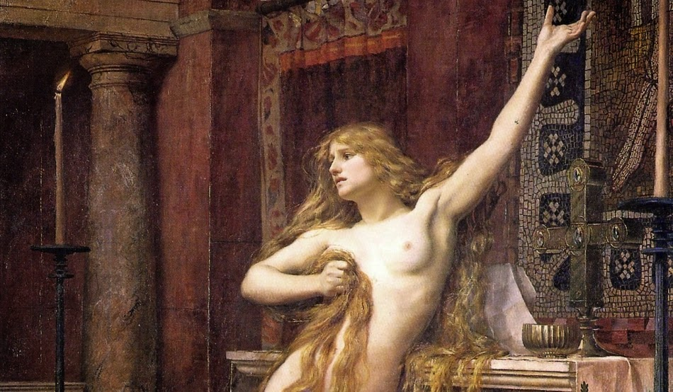 Charles William Mitchell - Hypatia, brutally murdered by a mob of monks inside a church, 1885 (detail)