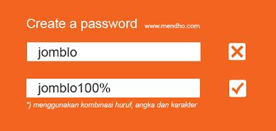 Contoh password menggunakan kombinasi huruf, angka dan karakter - Image by MeNDHo.com
