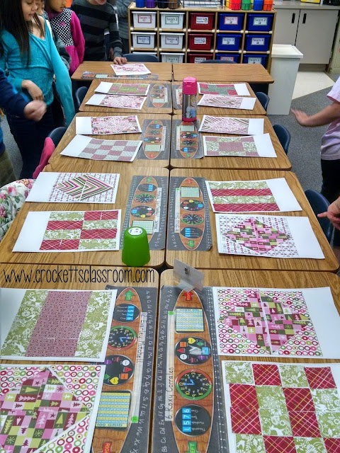 The kids had so much fun making these paper quilts.It was also a great way to review geometry.