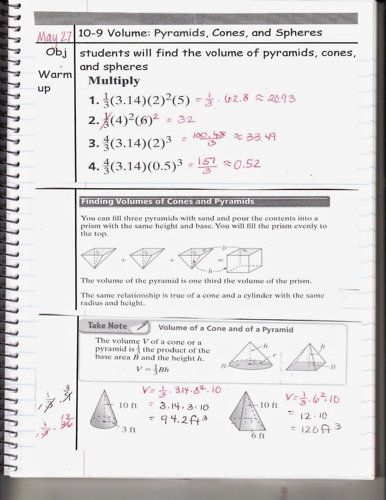 Ms Jean S Classroom Blog 10 9 Volume Pyramids Cones