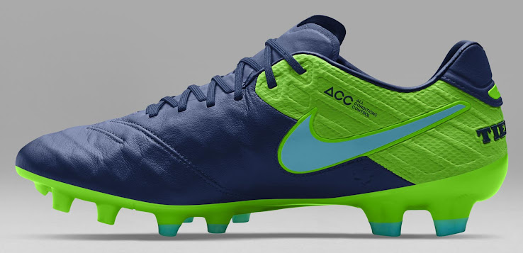 128ac472d Rounding things are turquoise Swooshes with bright green outlines on both  sides of the blue Nike Tiempo Legend VI 2016-2017 football boots.