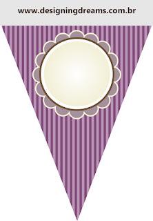 Banderines para Imprimir Gratis de Shabby Chic Morado.