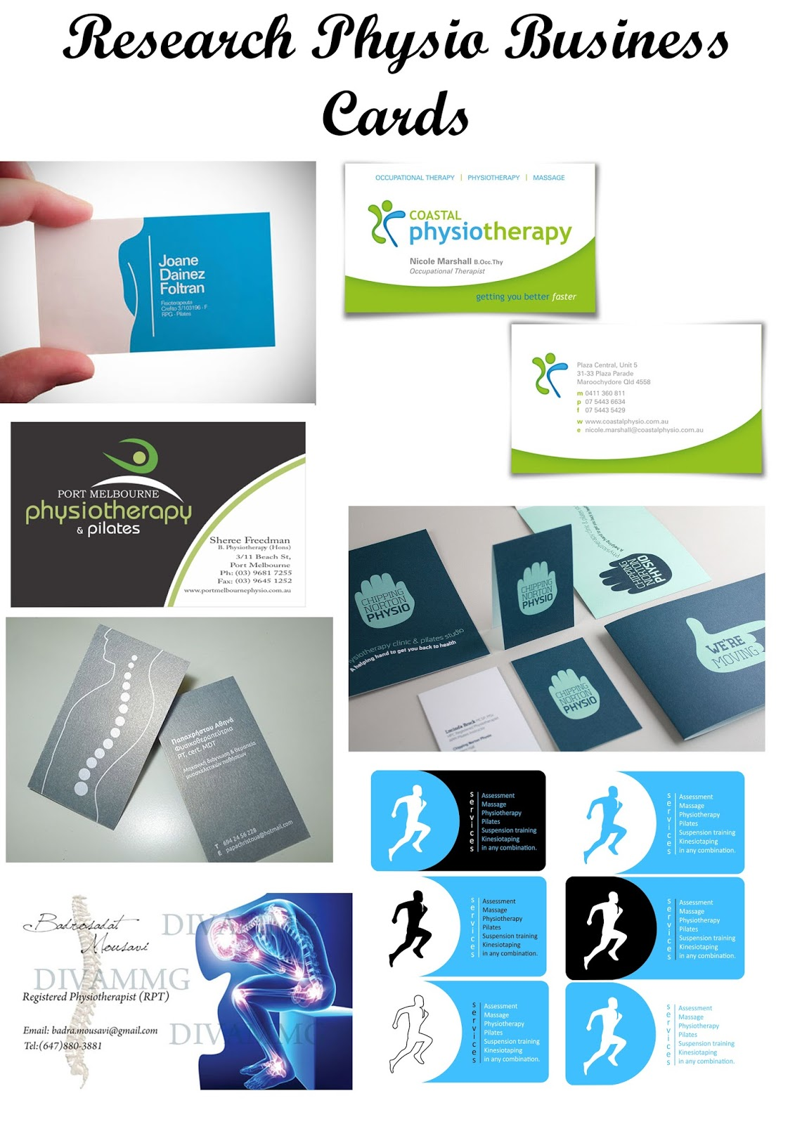 Physiotherapy Business Cards And Logos