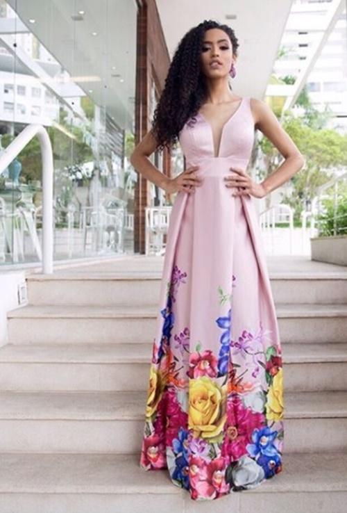 vestido de festa longo rosa estampado
