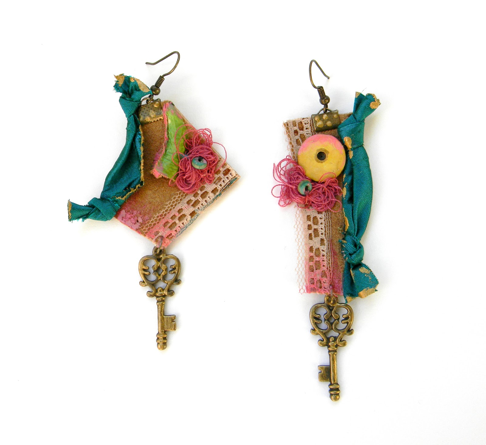 Handmade Earrings Steampunk Ecio Chic Colorful Jewelry