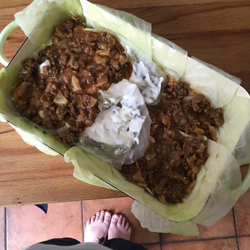 zerfledderte Kohlrouladen-Lasagne