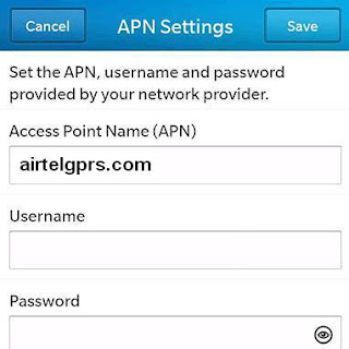 Airtel India Blackberry 10 APN Settings: