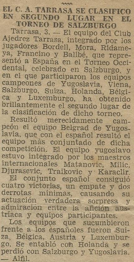 El Campeonato de Europa Occidental por equipos 1954 en el Diario de Terrassa