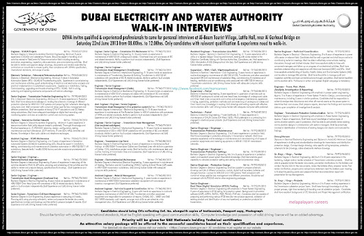 DUBAI ELECTRICITY AND WATER AUTHORITY WALK-IN INTERVIEWS- 22 JUN 2013