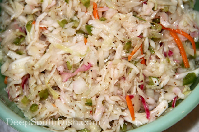 A basic coleslaw, dressed with a sweetened vinaigrette, called Forever Slaw because of it's long refrigerated shelf life.