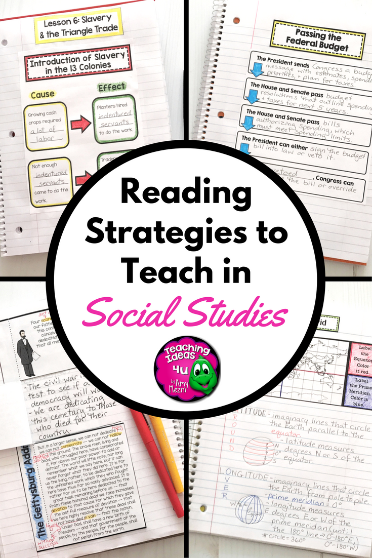 6 Reading Strategies You Need to Teach Social Studies - Teaching Resources  and Lesson Plans - Teaching Ideas 4U by Amy Mezni [ 1102 x 735 Pixel ]