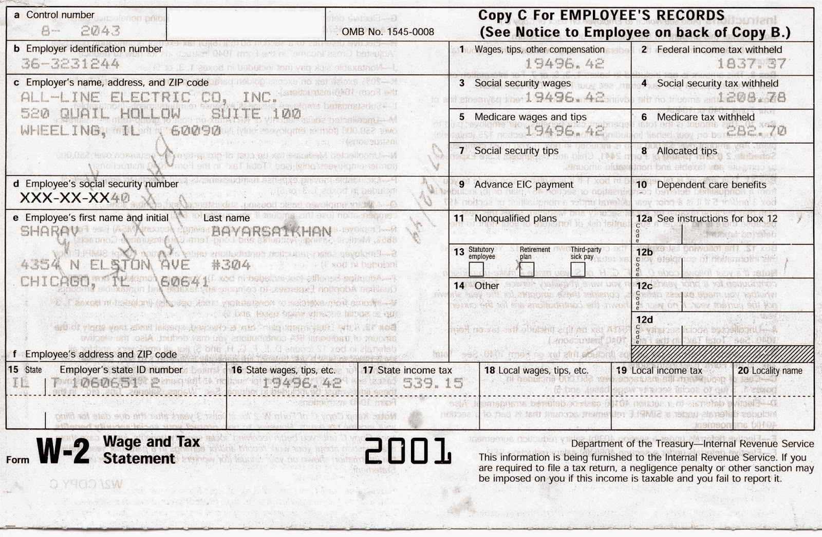 electric work  w-2 form u0026 39 s 1998