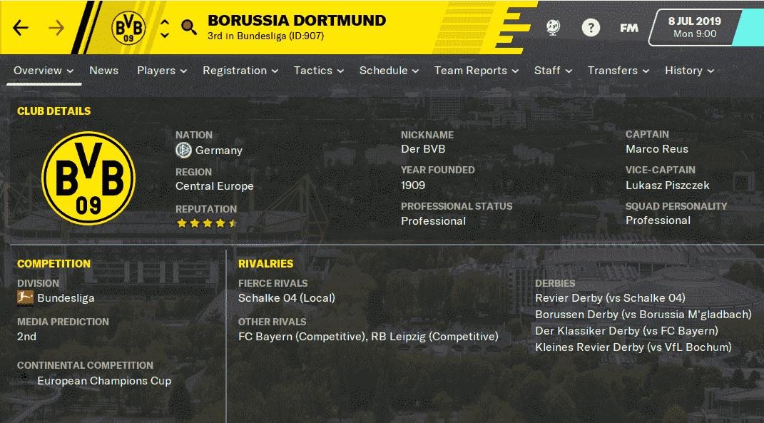 FM20 Team Guide - Borussia Dortmund