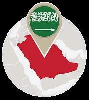 Saudi flag and map