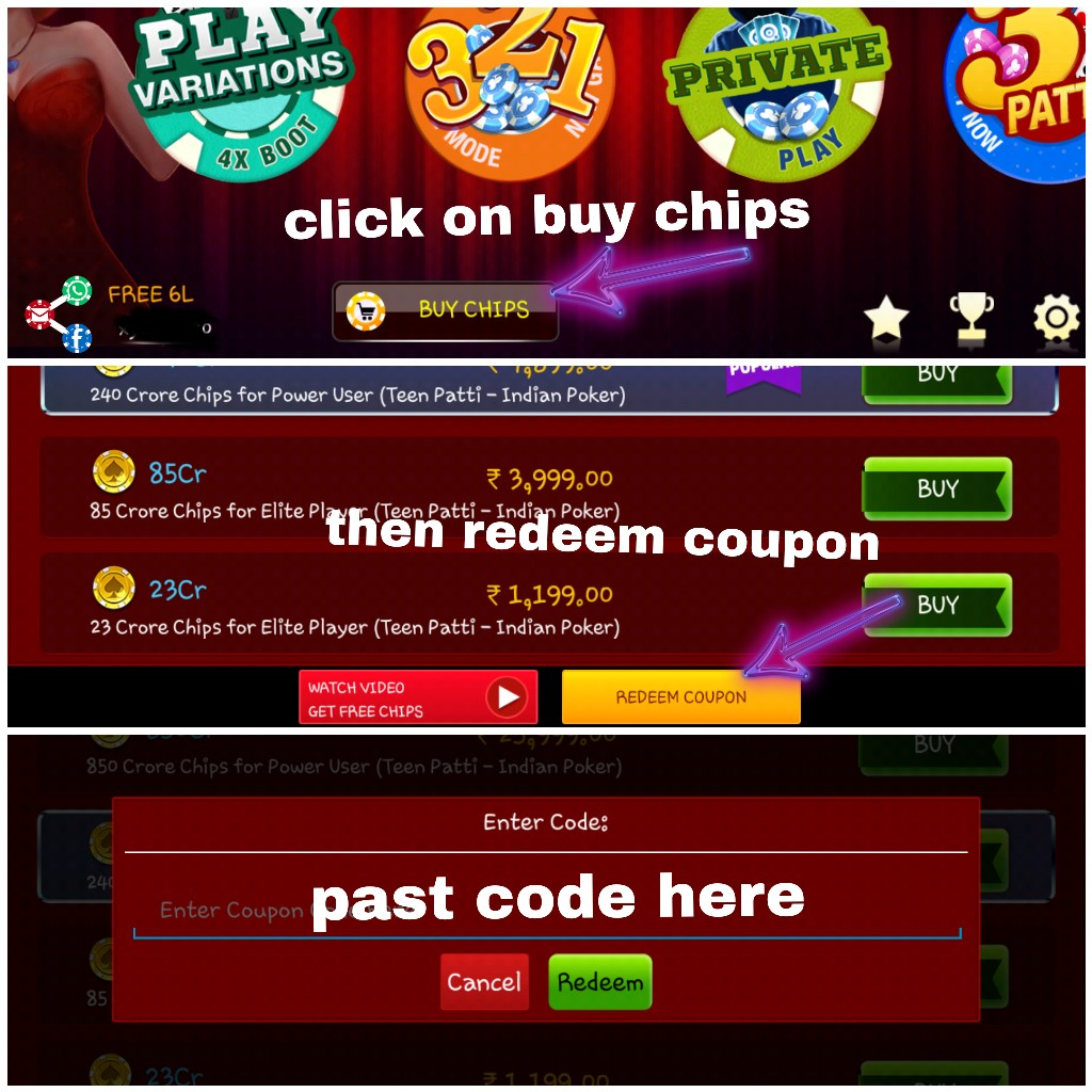 Lakh Teen Patti Coupons Free 6 Chips Get quick hackingtigers com