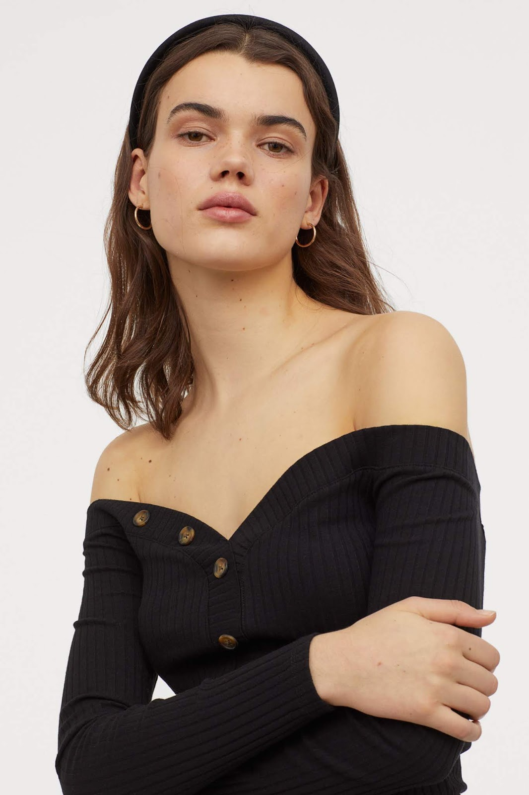 Affordable Under-$20 Black Ribbed Off-The-Shoulder Top
