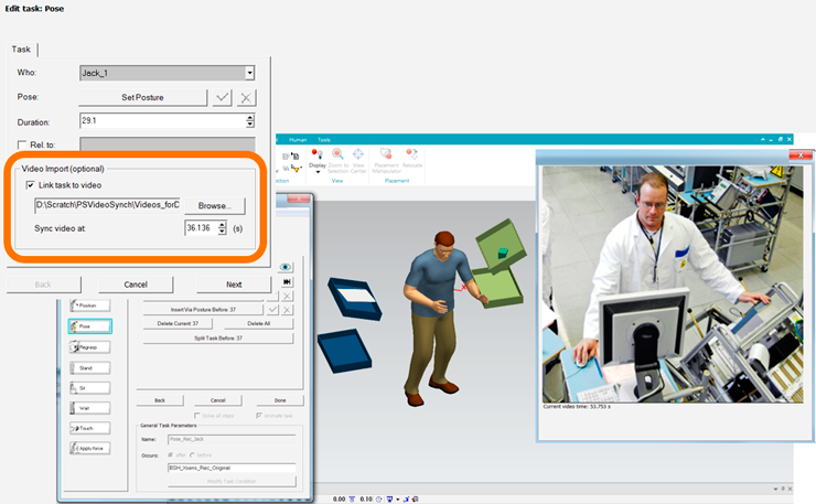 Siemens Tecnomatix Синхронизация симуляции с видеозаписью