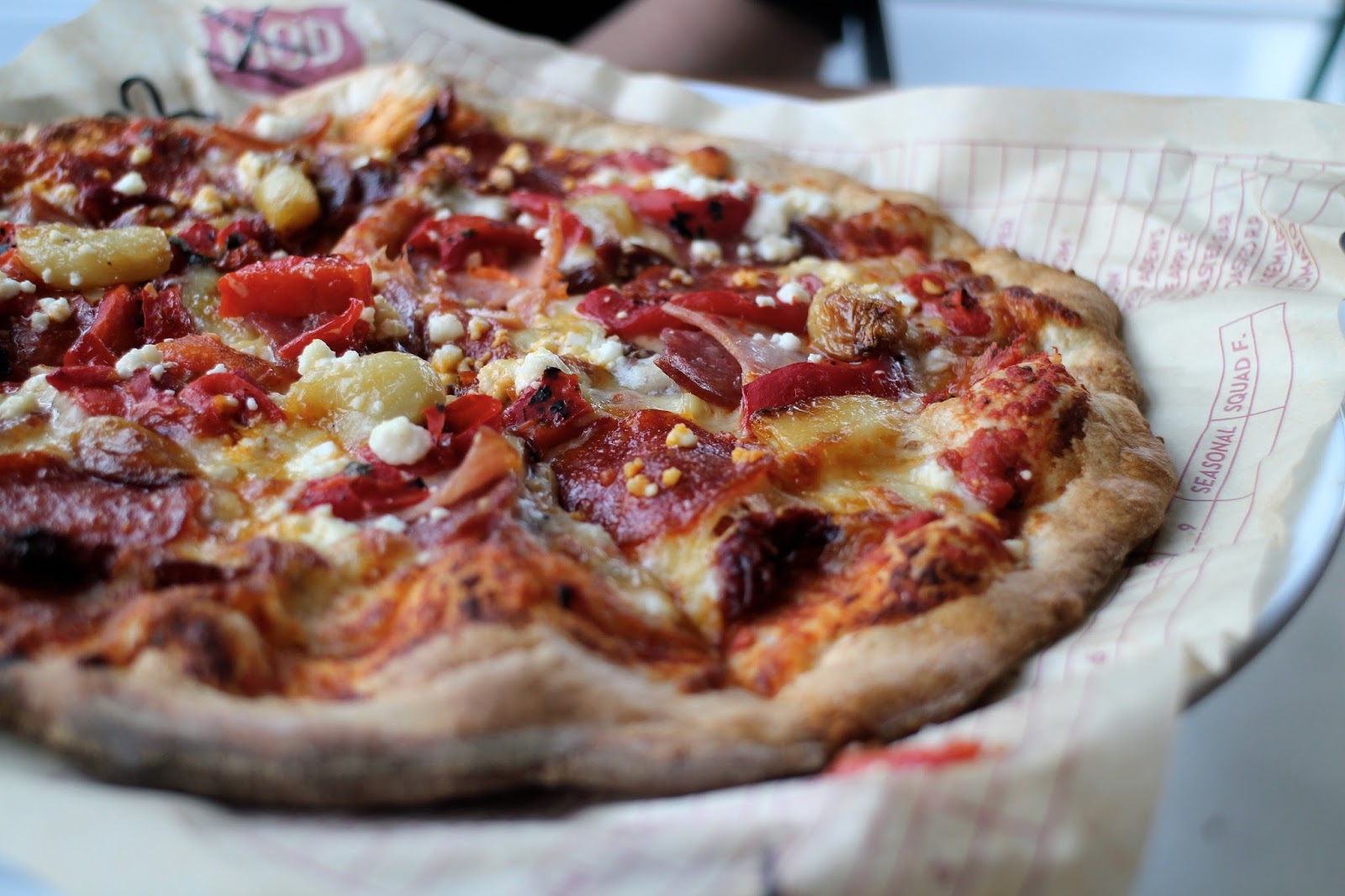 Close-up of meat pizza from MOD Pizza Leeds