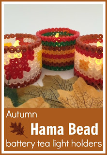 Autumn Hama bead battery tea light holders