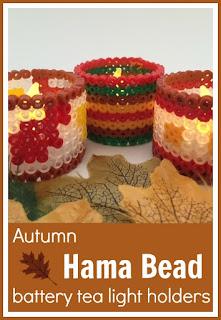 Autumn Hama bead battery tea light holders