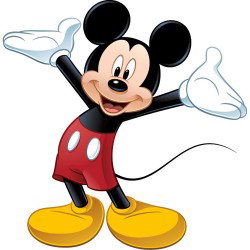 Mickey Mouse smiling waves his arms above his head