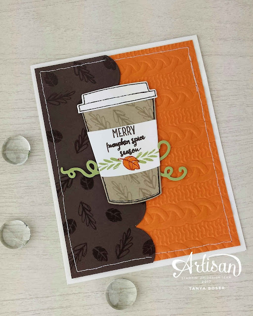 Merry Cafe from the Stampin' Up! Holiday Mini has loads of great images. Pumpkin Spice anyone? Tanya Boser for the Inky Friends blog hop