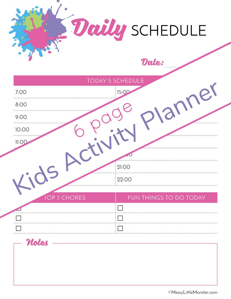 Daily activity planner. Kids activity planner pack.