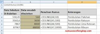 contoh data rumus Ceiling
