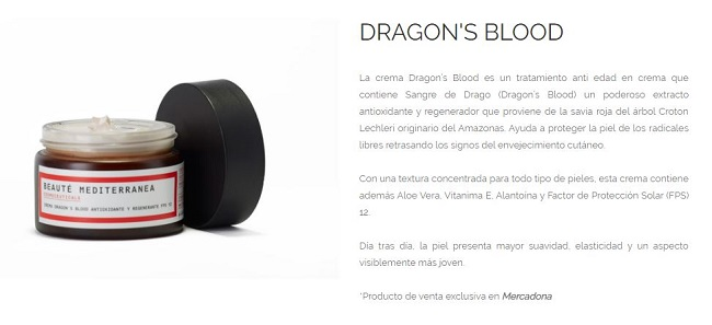 Dragon's Blood, crema de Mercadona - Beauté Mediterranea