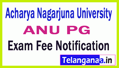 Acharya Nagarjuna University PG  Regular Supply Exam Fee Notification