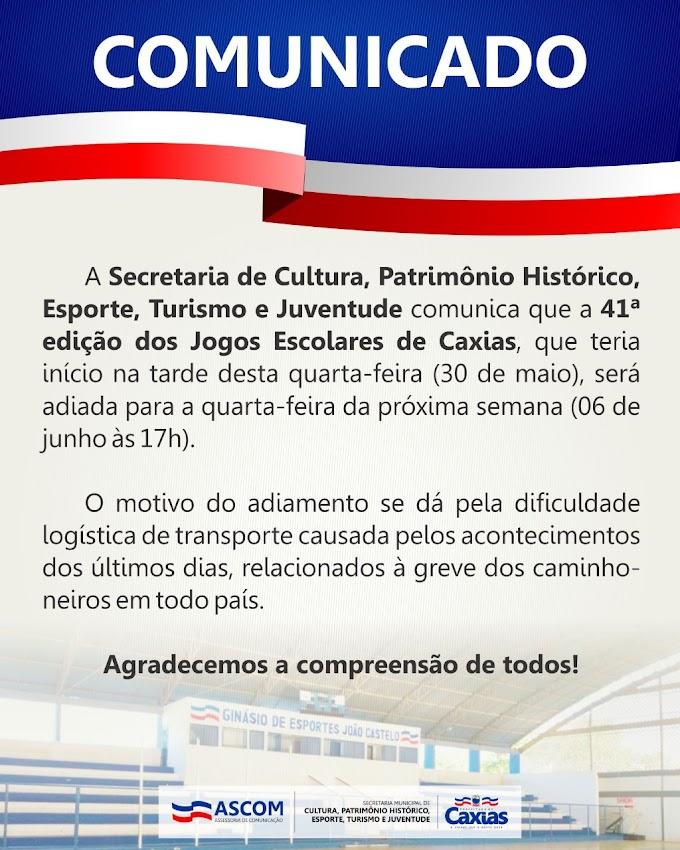 ESPORTE – Jogos Escolares de Caxias (JECS-2018) são adiados para o próximo dia 06 de junho