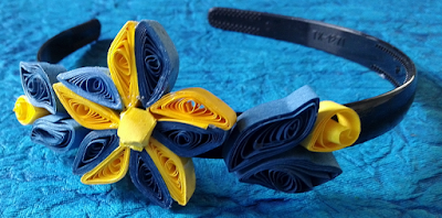 blue and yellow quilling hair band accessories - quillingpaperdesigns