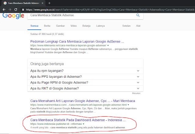 Google Search Cara membaca statistik adsense