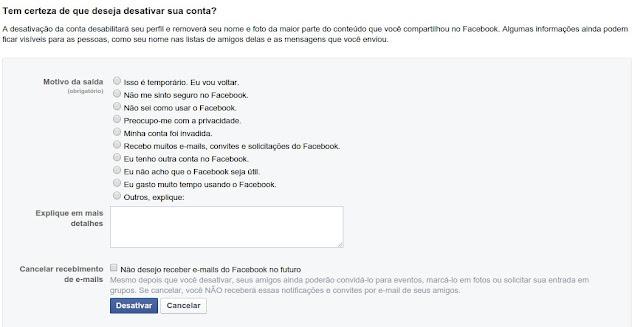 Desabilitação do perfil do Facebook