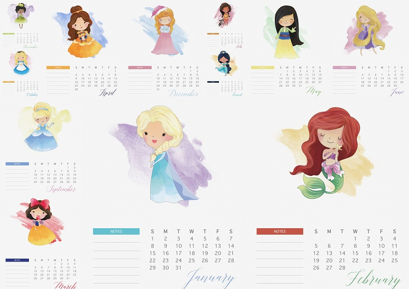 nice free printable 2017 disney princess calendar great calendar for ...