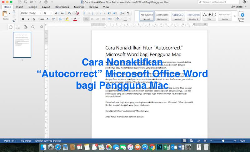 """Cara Nonaktifkan Fitur """"Autocorrect"""" Microsoft Word bagi Pengguna Mac serta Aktifkan fitur tersebut"""