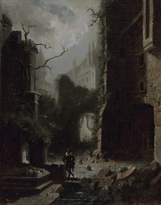 """Carl Spitzweg, """"Escena iluminada por la Luna con las ruinas del castillo"""""""