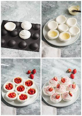 Réalisation des pavlovas aux fraises, chantilly à la fraise