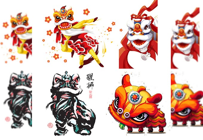 Hand painted Chinese lion dance for Chinese New Year Free PNG File