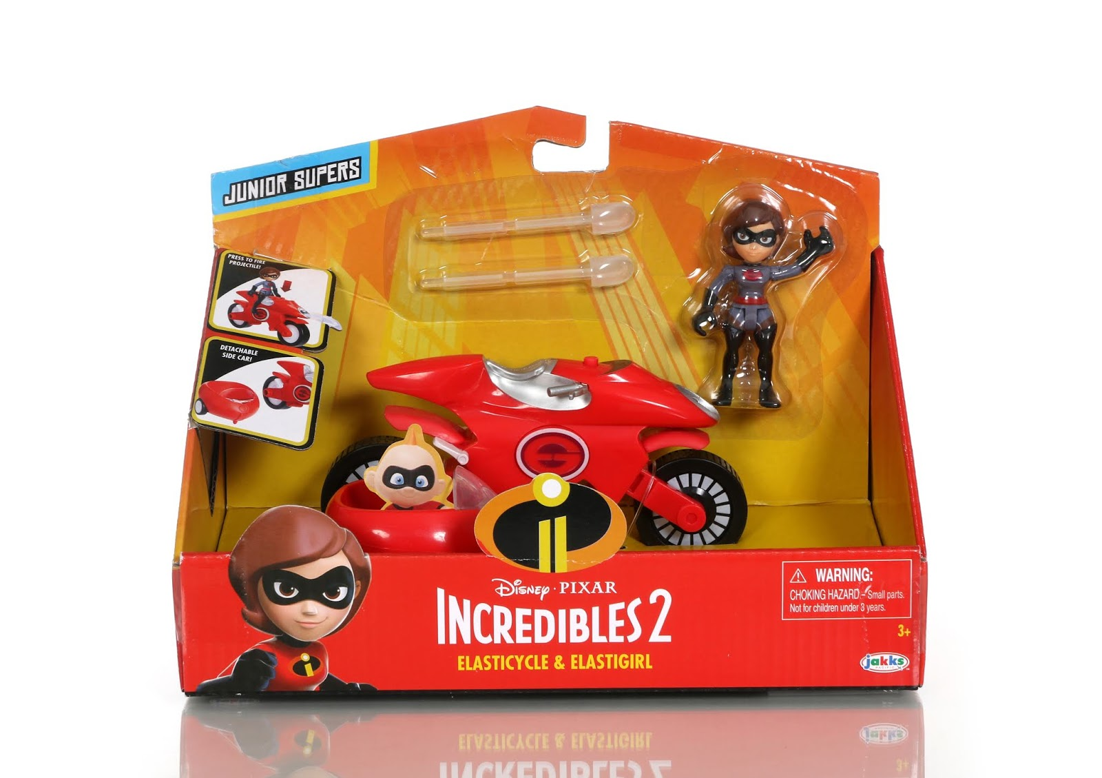 "Incredibles 2 Jakks Pacific Junior Supers"" Incredibile & Elasticycle Vehicles"