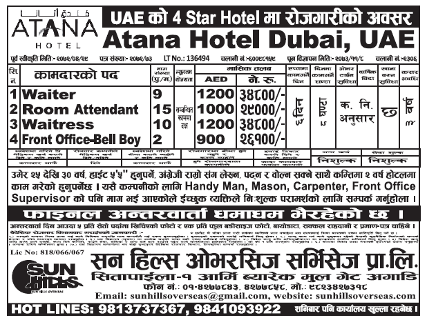 Jobs in 4 Star Hotel In UAE, Salary Rs 34,800