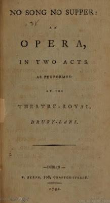 No Song, No Supper opéra de Stephen Storace (1790)