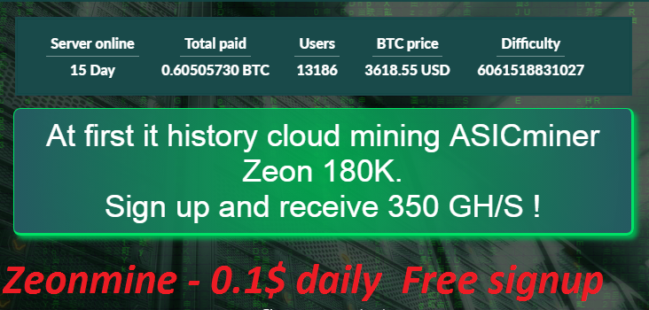 Earn 0 1$ bitcoin daily from Best cloud mining site 2019 - Zeonmine