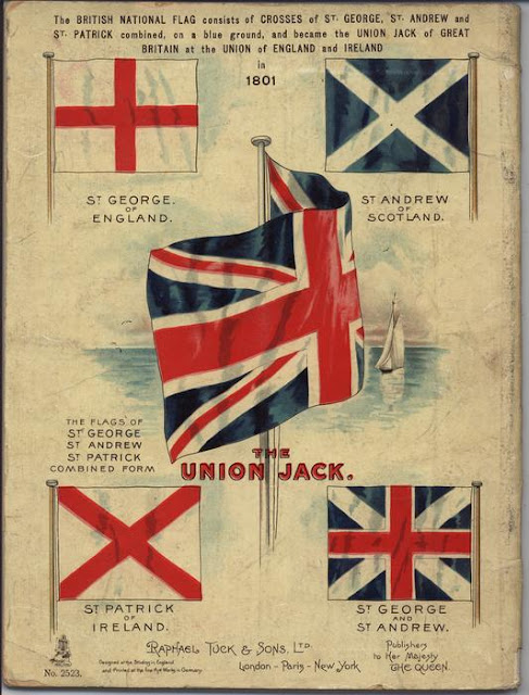 Vintage illustration c.1820s illustrating how the Union Flag combines The Red Cross of St George, the white saltire of St Andrew and the red saltire of St Patrick. Laser Kiwi. marchmatron.com