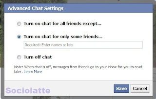 Facebook chat for only a few freinds