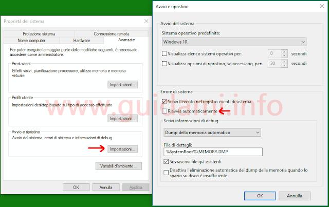 Windows 10 finestre Proprietà del sistema e Avvio e ripristino
