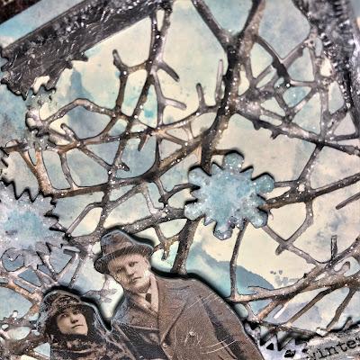 Sara Emily Barker https://sarascloset1.blogspot.com/2018/10/wishful-thinking-winter-card.html Wishful Thinking Winter Card with Tim Holtz Sizzix Alterations Ideaolgy Ranger Products 3