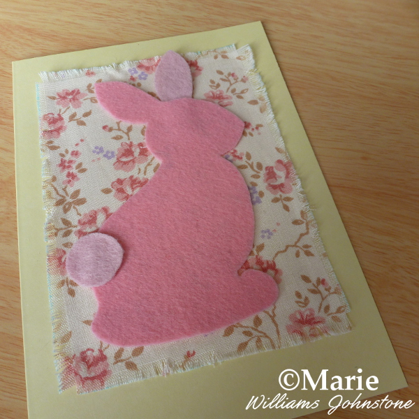 Add the pink felt bunny rabbit to the card front Easter Spring pattern design cards