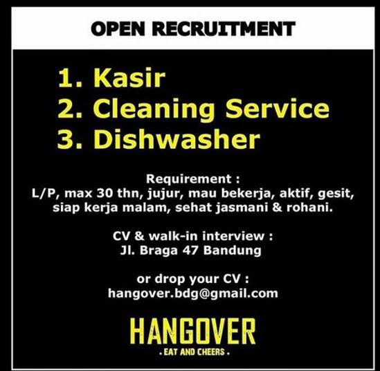 Lowongan Kerja Kasir, Cleaning Service, Dishwasher Bandung
