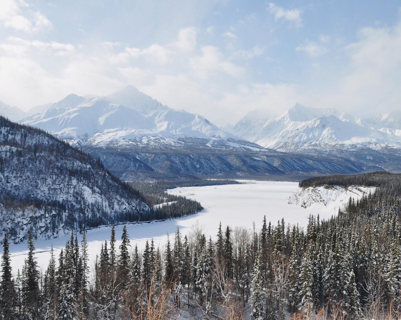 road trip alaskan snow winter